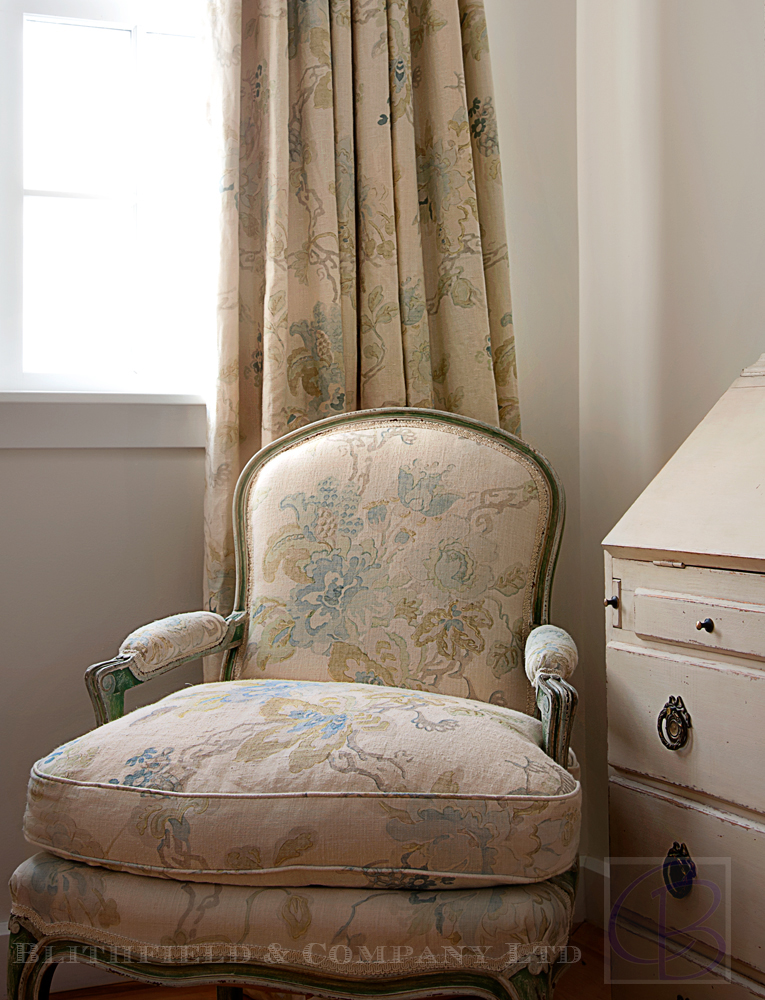 Blithfield Company fabrics with chair
