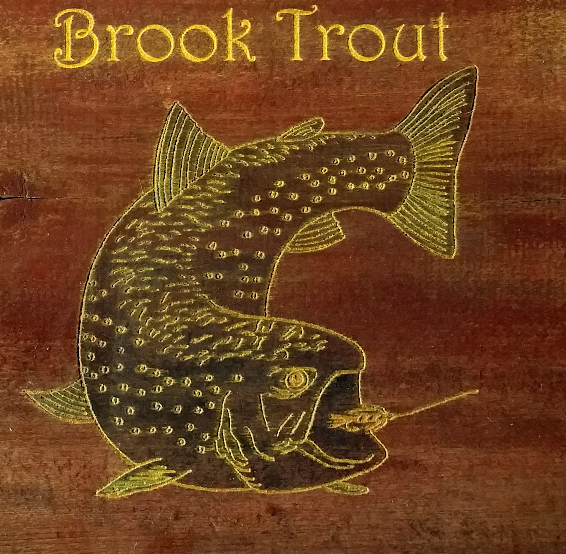 brookie on a 150 year old wood sap bucket cover
