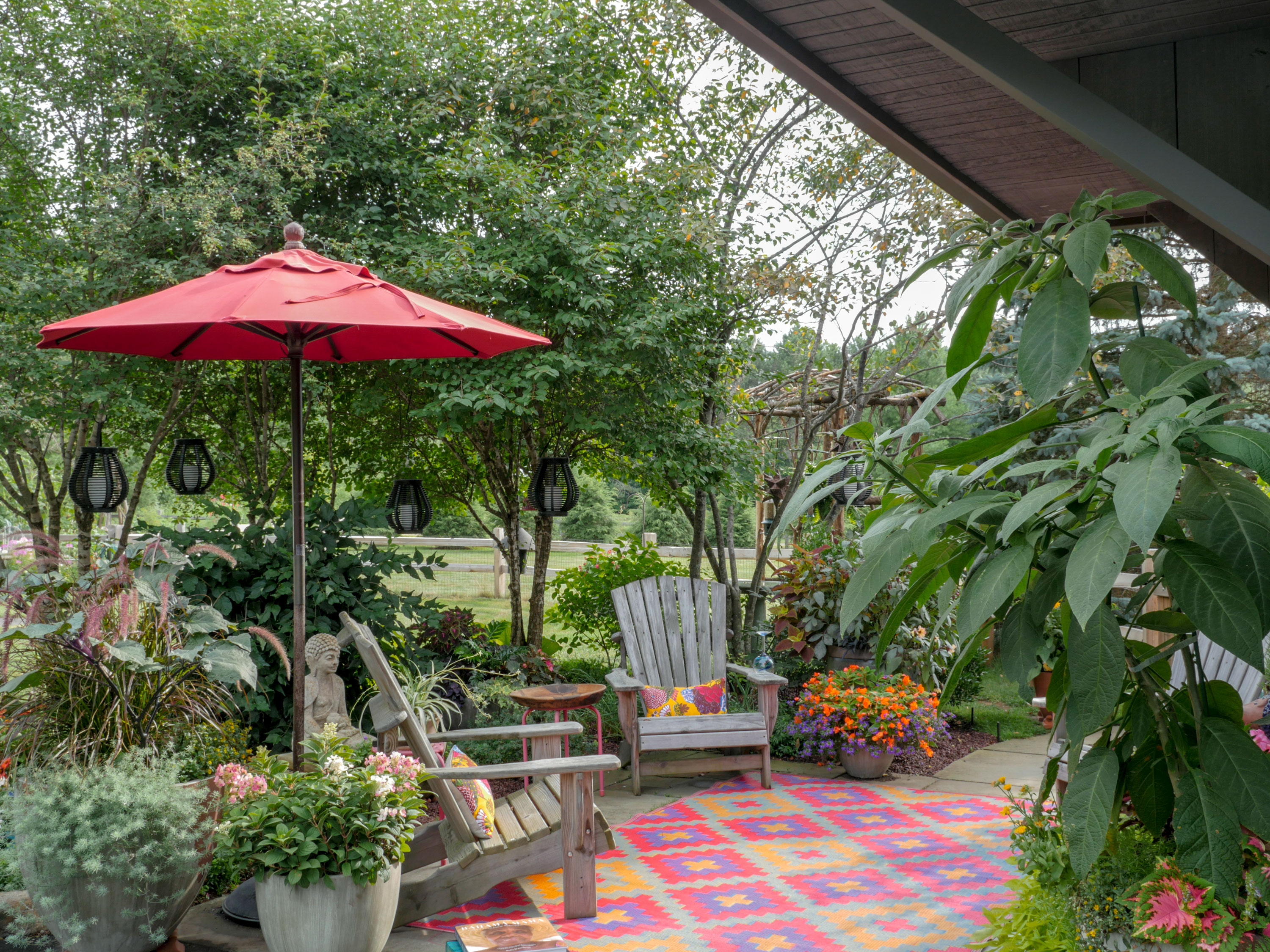 Patio designed with potted plants