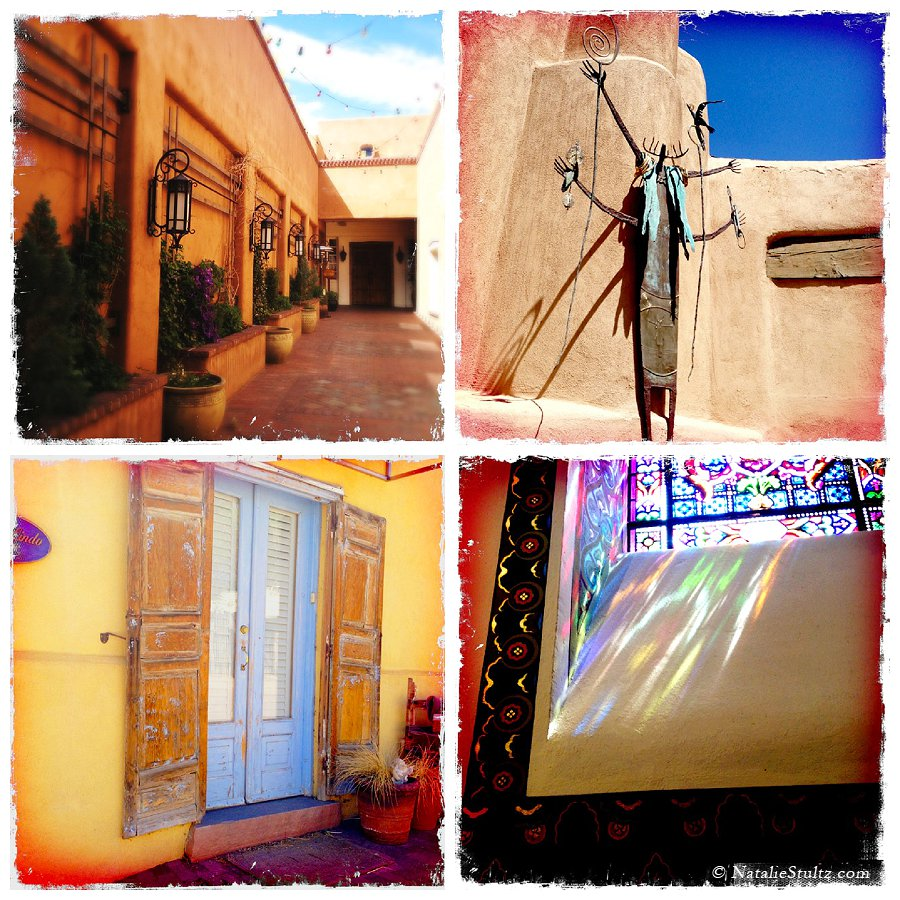 Impressions of Santa Fe: red-oranges, deep blues and bright light.