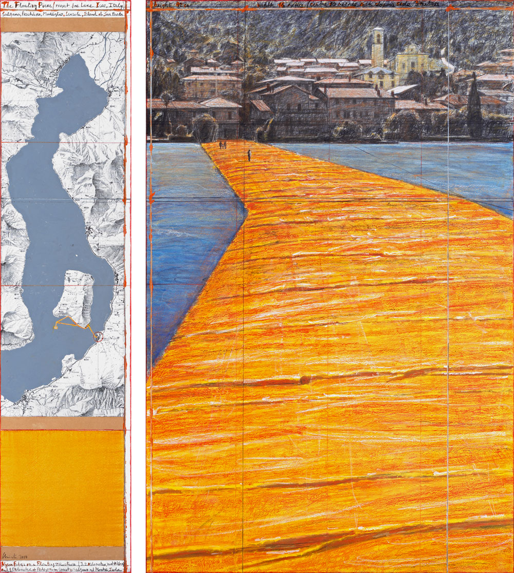 Christo The Floating Piers (Project for Lake Iseo, Italy) Drawing 2014 65 x 15