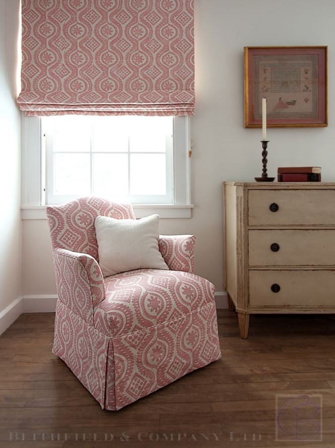Blithfield and Company fabrics wallpaper carolyn bates chair blinds