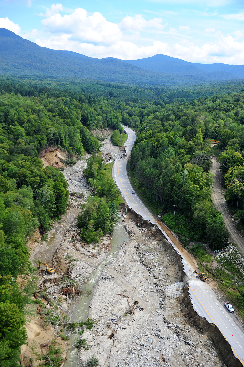 Route 4 between Killington, VT and Mendon, VT completely destroyed. Photo credit: Lars Gange & Mansfield Heliflight