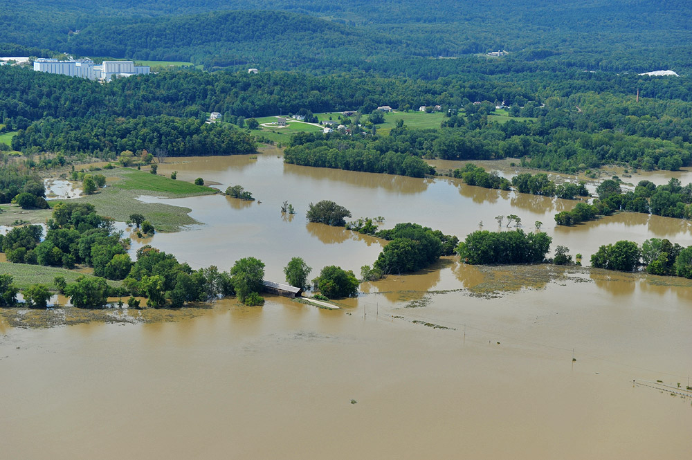 Standing floodwater remained in the East Pittsford, Vermont area on Wednesday. Photo credit: Lars Gange & Mansfield Heliflight