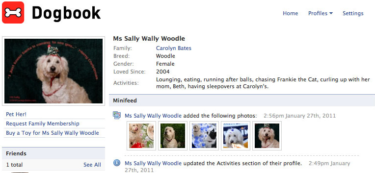 Ms Sally Wally Woodle is now on Facebook!